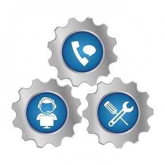 Ícone de emblema de serviço de reparação técnica