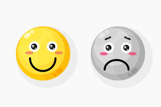 Ícone de emoticon de sorriso e tristeza