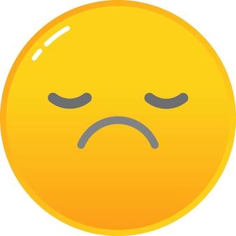 Ícone de emoticon triste vetor rosto sorridente infeliz