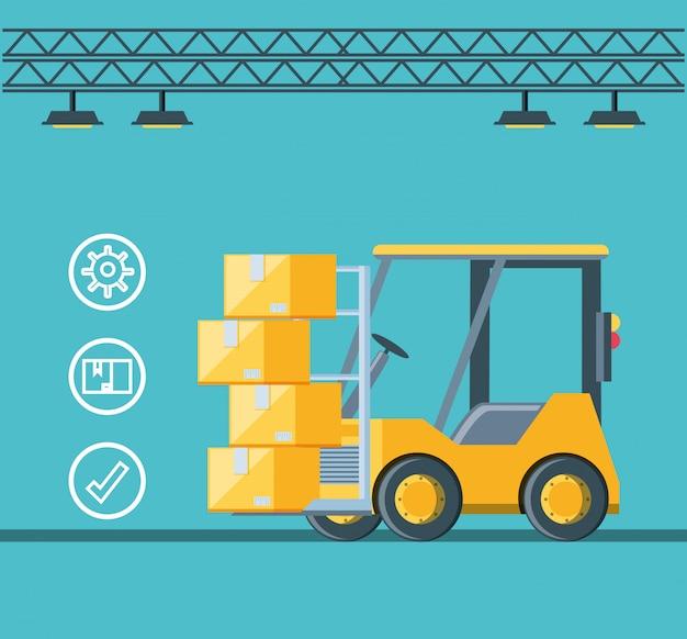 Ícone de empilhadeira de serviço de entrega