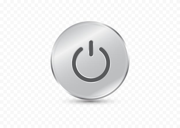 Ícone de energia isolado em fundo transparente símbolo de desligamento forma de círculo de placas de vidro