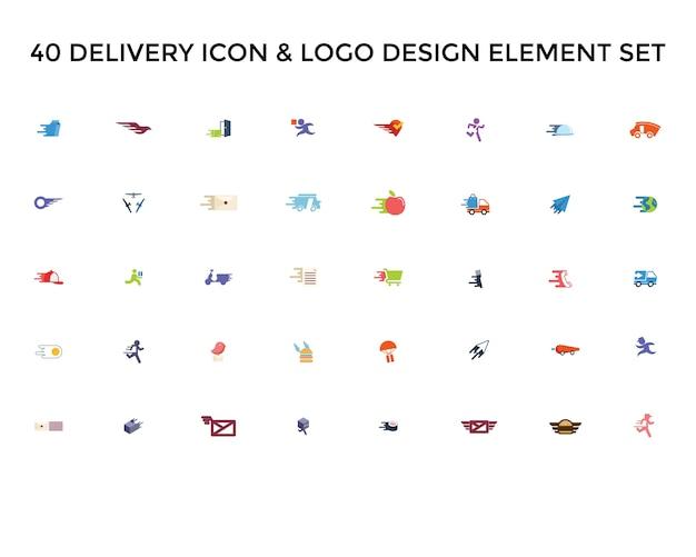 Ícone de entrega conjunto de design de logotipo