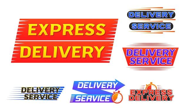 Ícone de entrega expressa do banner do logotipo de entrega para aplicativos e site de envio rápido com vetor de cronômetro