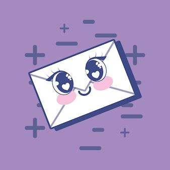 Ícone de envelope kawaii
