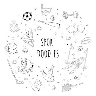 Ícone de equipamento de esporte desenhado à mão definido em estilo doodle