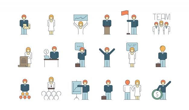 Ícone de equipe de negócios simples. comunicação social reunião grupo ou pessoa trabalho discussão apresentação fina linha símbolos coloridos