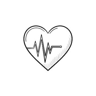 Ícone de esboço desenhado à mão da taxa de batimento cardíaco
