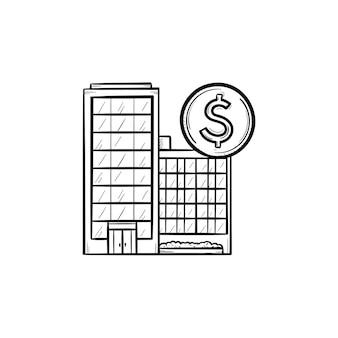 Ícone de esboço desenhado à mão de edifícios de negócios corporativos