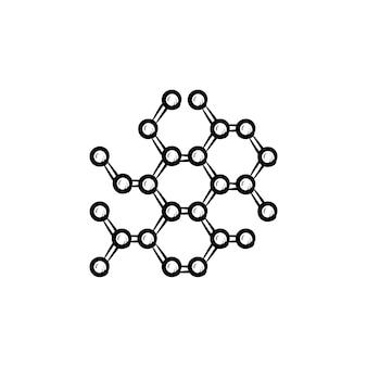 Ícone de esboço desenhado à mão de estrutura molecular