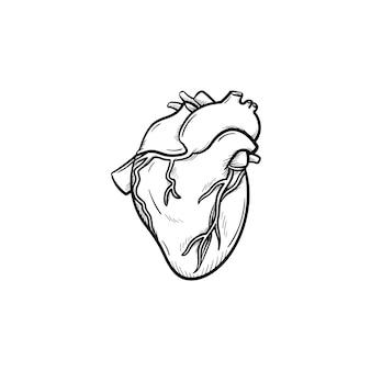 Ícone de esboço desenhado à mão de um coração