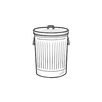 Ícone de esboço desenhado de mão da lata de lixo. lixo e lata de lixo, lata de lixo de aço e conceito doméstico limpo