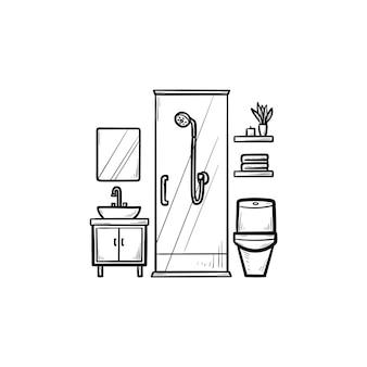 Ícone de esboço desenhado de mão de banheiro. higiene e chuveiro, vaso sanitário e banheira, conceito de lavagem e móveis