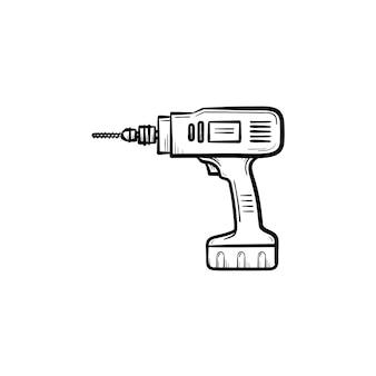 Ícone de esboço desenhado de mão de broca de martelo. ilustração de desenho vetorial com equipamento de construção - broca para impressão, web, mobile e infográficos isolados no fundo branco.