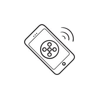 Ícone de esboço desenhado de mão de conexão sem fio de telefone móvel. conceito de tecnologia de conexão do smartphone. ilustração de desenho vetorial para impressão, web, mobile e infográficos em fundo branco.