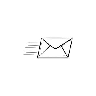 Ícone de esboço desenhado de mão de correio voador. boletim informativo, entrega de correio, conceito de envio e recebimento de mensagens