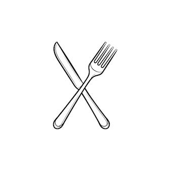 Ícone de esboço desenhado de mão de garfo e faca. talheres - ilustração cruzada do esboço do vetor garfo e faca para impressão, web, mobile e infográficos isolados no fundo branco.