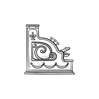Ícone de esboço desenhado de mão de máquina registradora de dinheiro antigo. compras retrô vintage, conceito de mercado de antiguidades