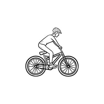 Ícone de esboço desenhado de mão de motociclista da montanha. ciclismo, esporte de verão, conceito de maratona de corrida cross country