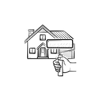 Ícone de esboço desenhado de mão de pintura de casa. rolo de pintura para ilustração de desenho vetorial pintura de casa para impressão, web, mobile e infográficos isolados no fundo branco.