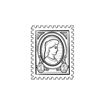 Ícone de esboço desenhado de mão filatelia. ilustração do esboço do vetor selo postal para impressão, web, mobile e infográficos isolados no fundo branco.