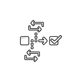 Ícone de esboço desenhado mão de gerenciamento de projeto ágil. estratégia de scrum, conceito de desenvolvimento de scrum