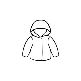 Ícone de esboço desenhado mão do casaco de chuva criança. casaco infantil quente ou jaqueta para ilustração de esboço de vetor de clima tempestuoso para impressão, web, mobile e infográficos isolados no fundo branco.