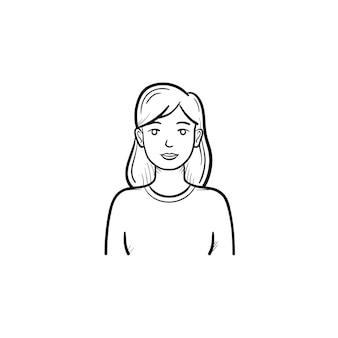Ícone de esboço desenhado mão enfermeira médica. bela enfermeira de medicina feminina como conceito de trabalho voluntário