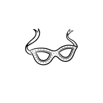 Ícone de esboço desenhado mão máscara de carnaval. acessório de olhos para ilustração de desenho vetorial carnaval para impressão, web, mobile e infográficos isolados no fundo branco.