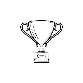 Ícone de esboço desenhado mão prêmio. ilustração de desenho vetorial copa troféu para impressão, web, mobile e infográficos isolados no fundo branco.