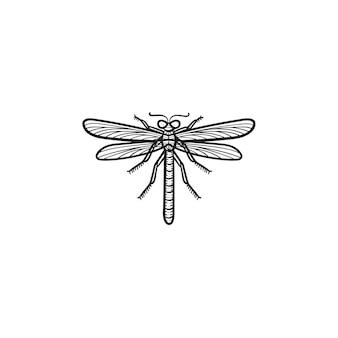 Ícone de esboço do vetor mão desenhada libélula. ilustração do esboço de libélula para impressão, web, mobile e infográficos isolados no fundo branco.