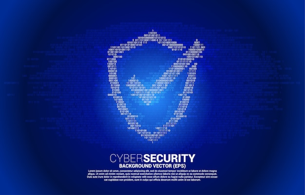 Ícone de escudo de proteção de um estilo de matriz de dígito de código binário zero. conceito de segurança e proteção
