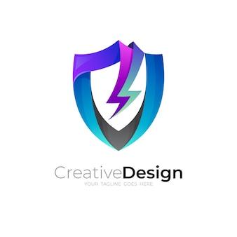 Ícone de escudo e trovão, design de segurança com ícones de trovão