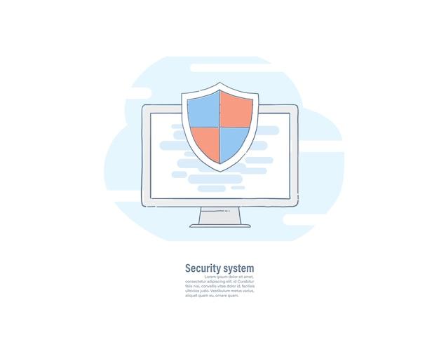 Ícone de escudo na tela do computador.