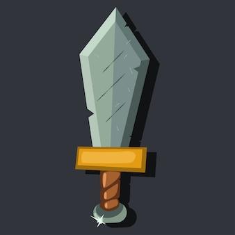 Ícone de espada medieval dos desenhos animados isolado