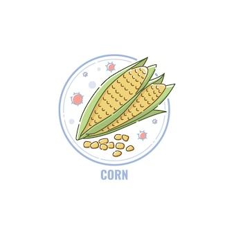 Ícone de espigas de milho e sementes em estilo linear plano circular