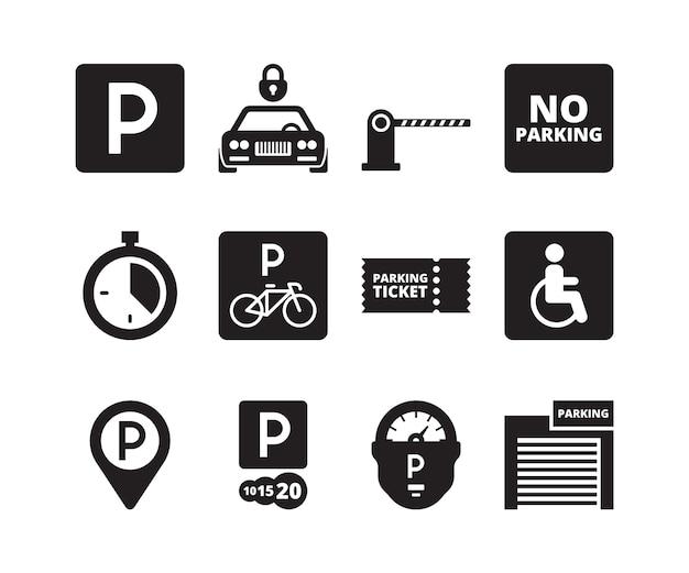 Ícone de estacionamento. transporte silhueta símbolos carros bicicletas dinheiro garagem veículos parque conjunto de coleta. ilustração estacionar garagem, ilustração de serviço de localização de transporte