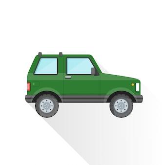 Ícone de estilo de carroçaria suv off-road verde plana
