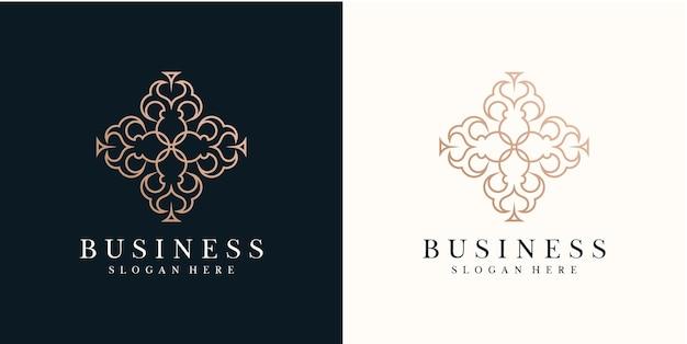 Ícone de estilo de linha de arte de logotipo minimalista de beleza de luxo para modelo de cuidados com a pele de moda salão cosmético