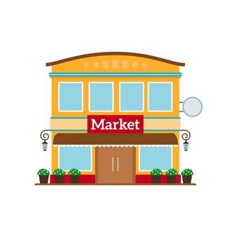 Ícone de estilo plano de mercado isolado no branco