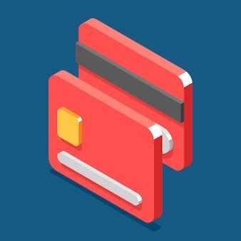 Ícone de estilo plano isométrico cartão de crédito 3d.