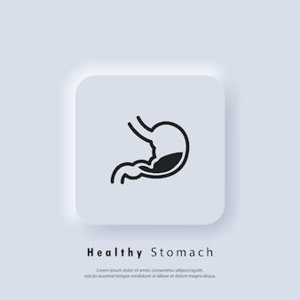 Ícone de estômago saudável. logotipo do estômago. ícone gastrointestinal. vetor. ícone da interface do usuário. botão da web da interface de usuário branco neumorphic ui ux. neumorfismo
