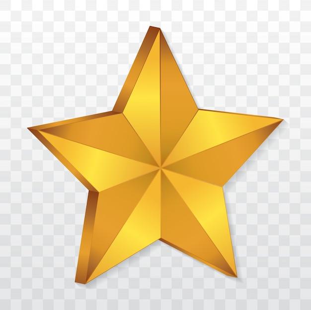 Ícone de estrela 3d dourada