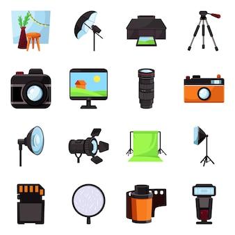 Ícone de estúdio e foto. cenários e equipamentos