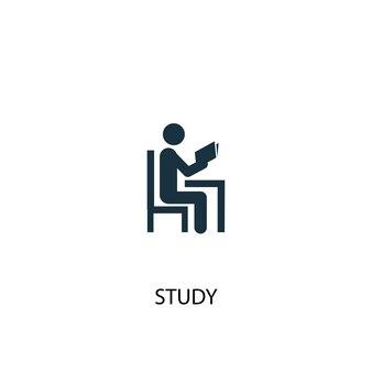 Ícone de estudo. ilustração de elemento simples. projeto de símbolo de conceito de estudo. pode ser usado para web e celular.