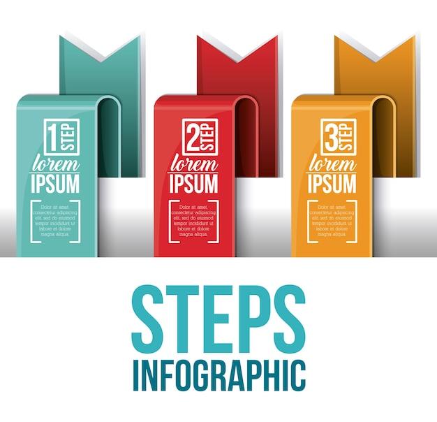 Ícone de etapas e fitas. infográfico de informação de dados e tema de opções. design colorido. vetor illu