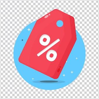 Ícone de etiqueta de venda em fundo em branco