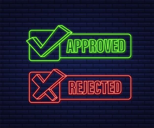 Ícone de etiqueta do rótulo aprovado e rejeitado. ícone de néon. ilustração em vetor das ações.