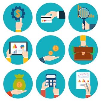 Ícone de examinador financeiro. ícone de estatística econômica. ilustração vetorial dinheiro em mãos ícones