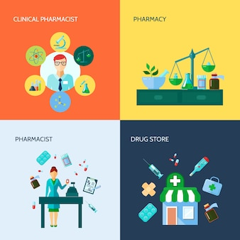 Ícone de farmácia plano conceitual isolado conjunto com vários dispositivos médicos e métodos de droga applicat