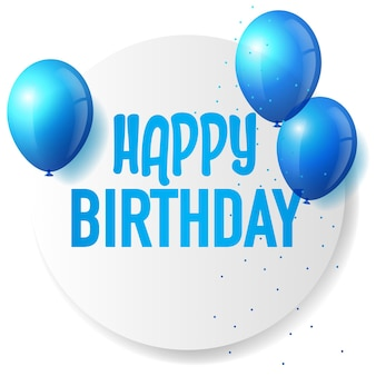 Ícone de feliz aniversário com balões azuis como decoração, ilustração em vetor eps 10